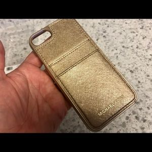 Michael Kors Metallic Gold Leather iPhone 7/8 Case